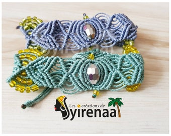 Blue or green color macrame bracelets