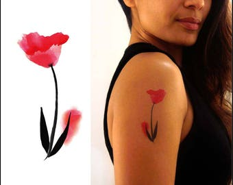 Temporary Tattoo Watercolor Tulip - Gift Ideas - Set of 2