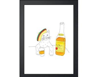 Tequila Cat 8.5x11 Art Print, Wall Decor, Wall art, Funny Cat Art, Drawing Prints