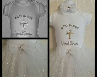 Personalized Birthday Baptism Embroidered Shirt and Tutu