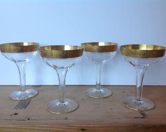 Vintage Tiffin Minton Hollow Stem Coupe Champagne Gold Encrusted Set of 4 Excellent