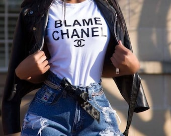 Blame Chanel Not Me Tee Tshirt Graphic Tee Black & White