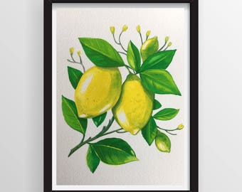 This is an original Gouache painting of Lemon fruits. Makes a great gift. NOT A PRINT