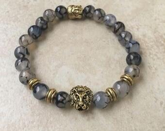 Gold Lion Buddha Bracelet