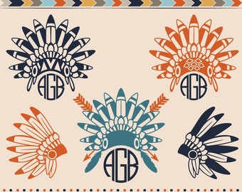 Indian Monogram SVG Native American Indian Headdress Head Indian Bonnet Frames Cut Files Svg Cut Files Silhouette Decals Apache Indians SVG