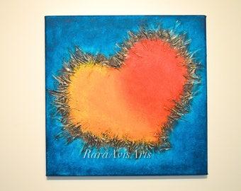 "Heart of Gold, 12"" x 12"" Mixed Media Canvas, Original Acrylic Wall Art, Oranges and Blues"