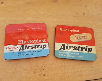 Vintage tins x 2, Elastoplast Airstrip, 60s. Plasters, medical collectable.