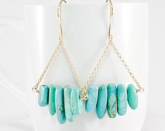 Turquoise Spikes Bar Earrings