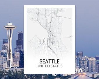 Seattle Washington USA Map Print
