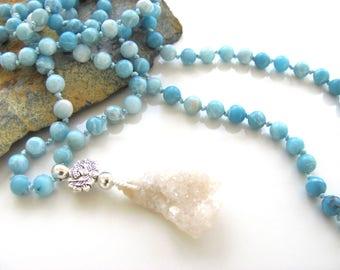 Mantra Mala - Hand Knotted 108 Bead Mala - Aqua Colored Jade & Quartz - Yoga Jewelry - Buddhist Prayer Beads - Beaded Necklace