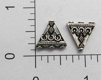 2 Pieces 925 Sterling Silver Bali Beads Connector 15 mm Multi Strand Triangle Shape
