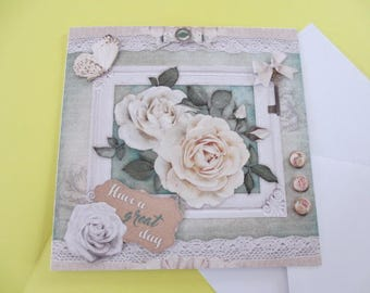 Vintage 3D card White Roses