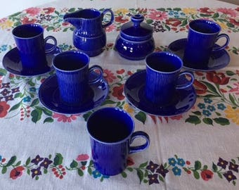 Vintage Irish China 12 Piece Set of Arklow China Cobalt Blue Made in Ireland