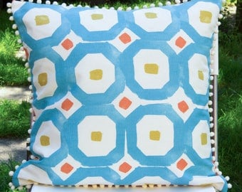Cushion cover in summer colors with pom poms, 50 x 50 cm