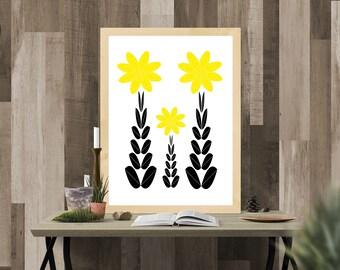 Folk flowers print