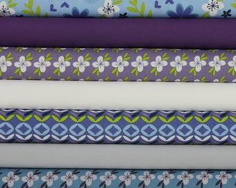 Fat Quarter Bundle - Retro Floral Blue