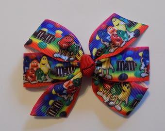M & M's Girl's Hair Bow- Hair bow, Toddler hair bow, Hair bow for girl, Hair clip for girls, Barrettes and clips, Birthday hair clip