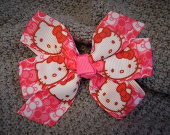 Hello Kitty - Girl's hair bow, Hello Kitty hair bow, Hair bow for girl, Hair clip for toddler, Party favor hair bow, Pink hair bow