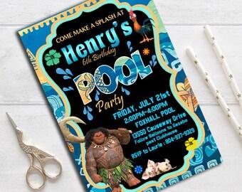 Moana Invitation, Maui Birthday Invitation, maui Pool Party Invitation, Moana Pool Party, Printable, Moana party, Moana  Birthday, Maui boys