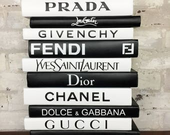 12 BOOKS - Black & White- Designer Books, Chanel, Louis Vuitton, Dior, Prada Decorative Books, Coco Chanel Book, Luxury Designer Home Decor