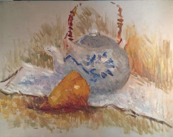 Vintage Still Life Oil Painting / White and Blue Tea Pot with Pear Painting  / Original Vintage Art