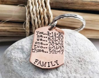 Key Chain, Personalized, Anniversary for Him, Husband, Family, Gift for Dad,