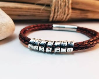 Christmas for Him, Personalized Men's Bracelet, Coordinates Bracelet, Anniversary, Husband, Gift for Boyfriend, Sterling Silver, Leather