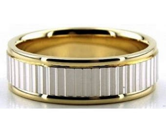 14K Gold Two Tone 7mm Diamond Cut Facets Wedding Bands