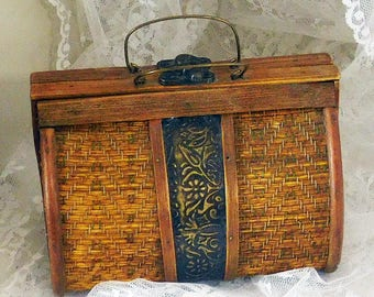 """Vintage Wood and Metal Purse 5"""" High x 6 1/8"""" Wide x 4"""" Deep at Base"""