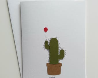 "Greeting card DIN B6 high ""Cactus balloon"""