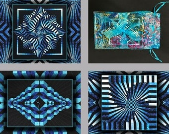 Optical Illusion Note Cards - Blue