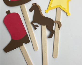 Cowboy Cupcake Toppers - 12 toppers per package, Cowboy Themed, Toppers