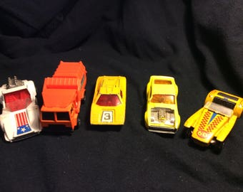 Set of 5 Vintage toy cars cast Iron toy cars multi-colored toy cars