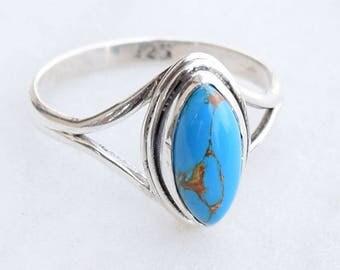 Blue Turquoise Ring, Turquoise Ring , Turquoise Stone Ring, Silver Ring. Sterling Silver Ring,