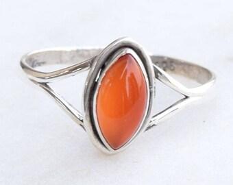 Carnelian Stone Ring, Sterling Silver Ring, Carnelian Ring ,Carnelian Agate Ring, Red Stone Ring, Boho Ring, Gemstone Ring
