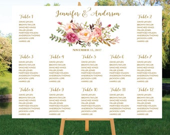 PRINTABLE Wedding Seating Chart Template, Boho Wedding Table seating assignment, Decor, Editable Text, Instant Download. Edit PDF - ASC011