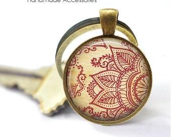 Henna Lotus Flower Key Ring • Lotus Flower • Hindu Om • Mandala • Meditation • Wedding Mandala • Gift Under 20 • Made in Australia (K494)
