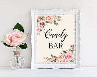 Candy bar Wedding Sign Digital Floral Blush Pink Peach Wedding Boho Printable Bridal Decor Gifts Poster Sign 5x7 and 8x10 - WS-032