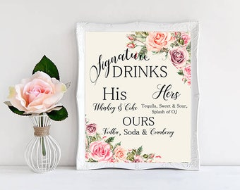 Signature drinks Sign Peach Pink Blush Floral Roses Boho Digital Wedding Sign Bohemian Wedding Poster WS-032