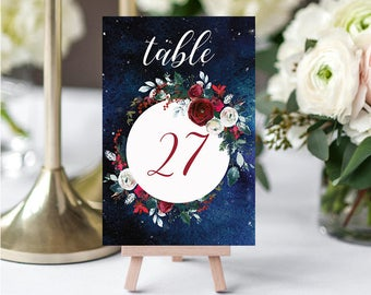 Wedding Table Numbers,Christmas Winter Numbers,Red White Burgundy Table Numbers,Table Numbers Wedding,21-30,4x6,PDF Instant Download TN-050