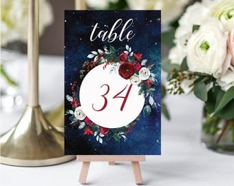 Wedding Table Numbers,Christmas Winter Numbers,Red White Burgundy Table Numbers,Table Numbers Wedding,31-40,4x6,PDF Instant Download TN-050