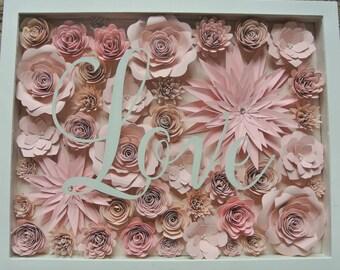 Paper flower shadow box