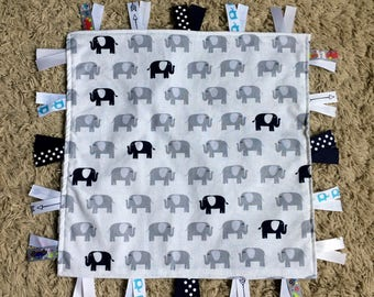 Elephant Lovey Ribbon Blanket, Elephant Lovey, ElephantSecurity Blanket, Tag Blanket, Baby Shower Gift