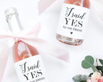 I Said Yes to the Dress Mini Champagne Labels