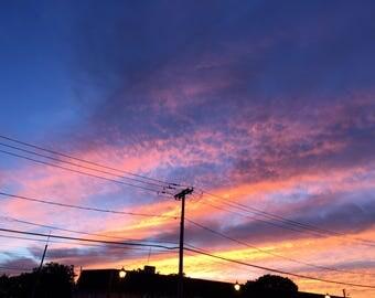 City Blue Fire Sky