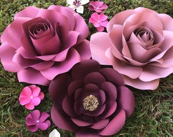 Paper Flowers set of 3 plus 6 xsmall