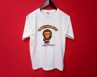 vintage bathing ape baby milo large mens t shirt