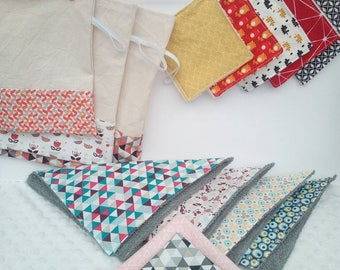 Kit zero waste. Ideal for beginners. fabric 2 handkerchiefs. 3 bags in bulk. 4 washable paper towels. 5 wipes.