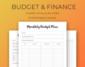 budget planner, planner inserts, financial tracker, savings tracker, printable inserts, debt planner, printable refills, monthly budget kit