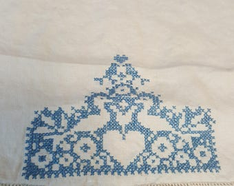 Vintage Cross Stitched Chair Scarf